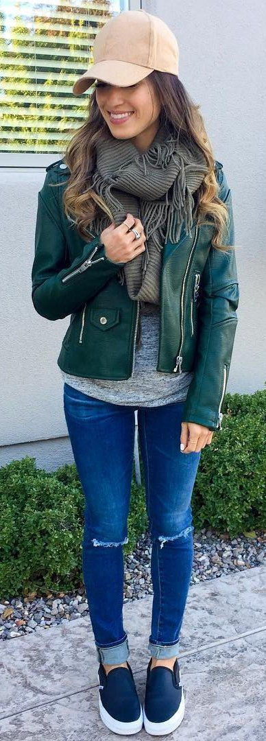 40 Basic Outfit Ideas To Inspire You | Green leather jackets .