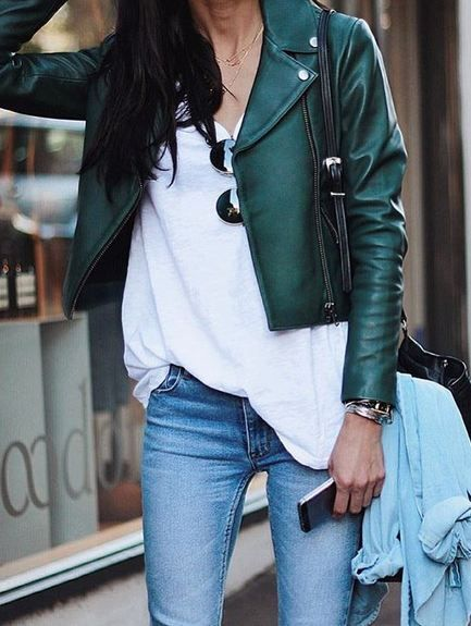 Green leather jacket over t shirt and jeans - street style (com .
