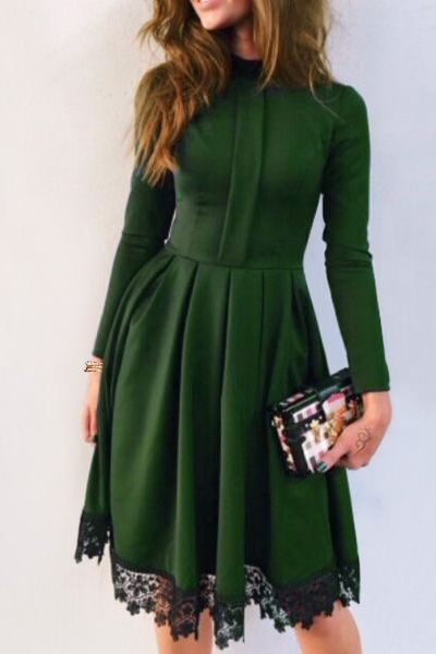 Lacework Stand Collar Flare Dress GREEN | Sukienki koktailowe .