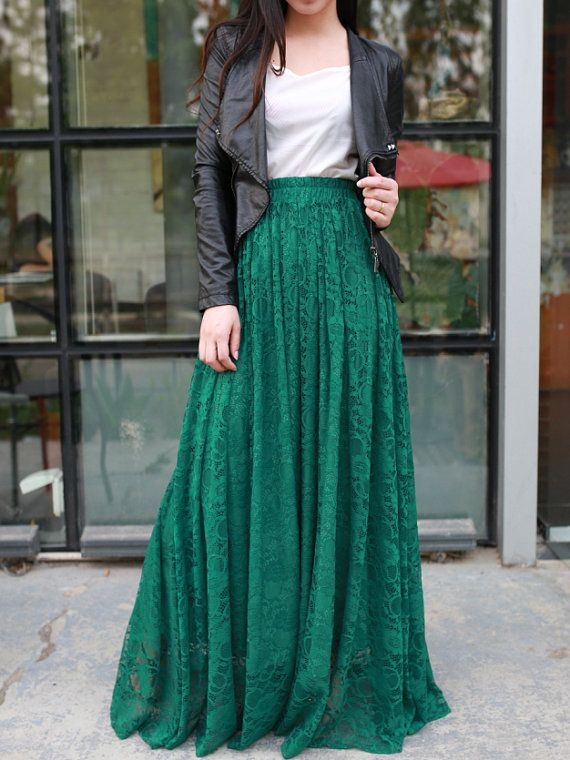 Jade green long maxi skirt with a plain white top. A plain white .