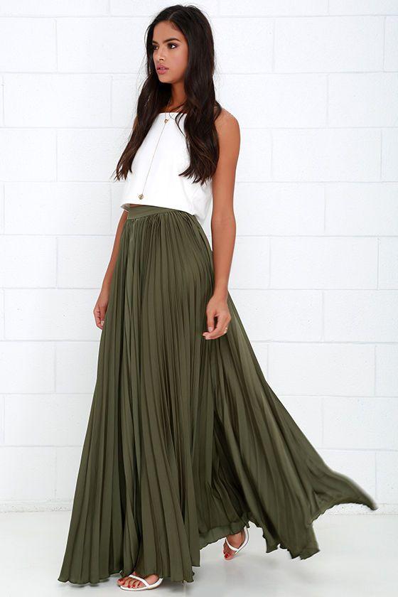 Olive green maxi skirts   HOWTOWEAR Fashi