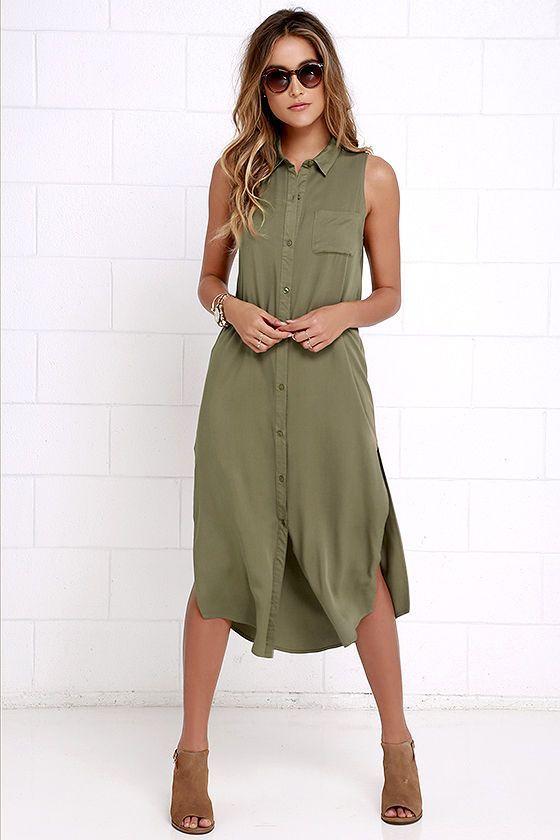 New York Minute Olive Green Sleeveless Midi Dress | Green shirt .