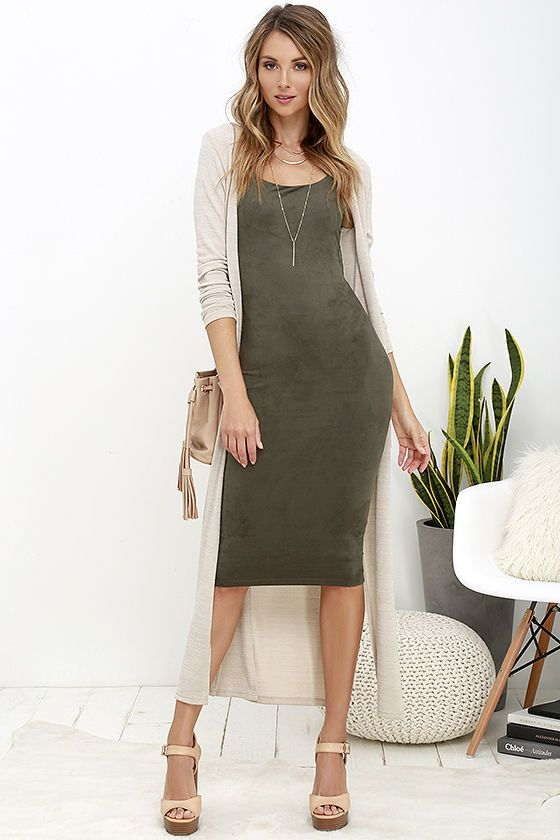 Have it Suede Olive Green Midi Dress | Green dress outfit, Winter .