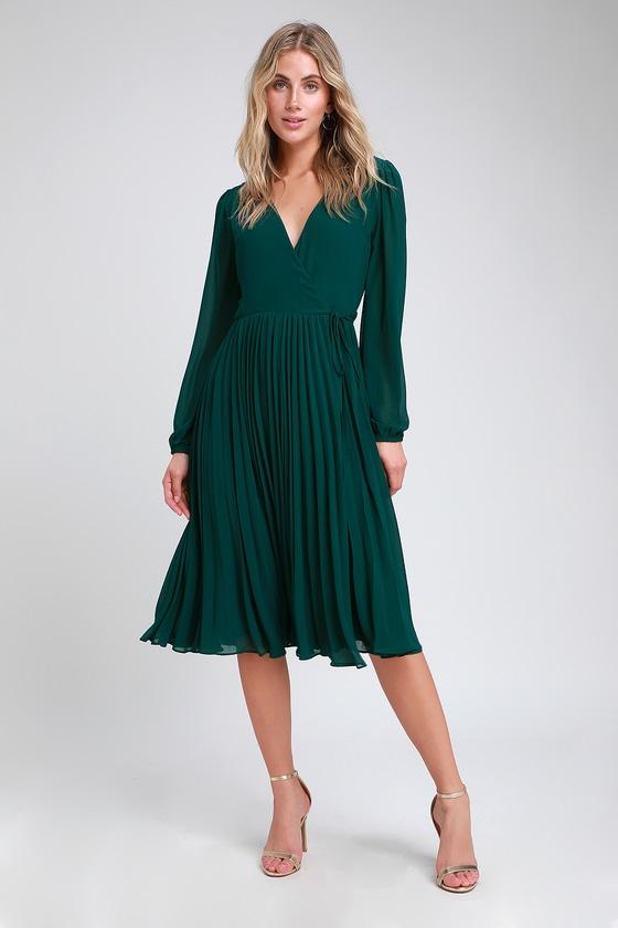 First Impression Dark Green Pleated Midi Wrap Dress | Green dress .