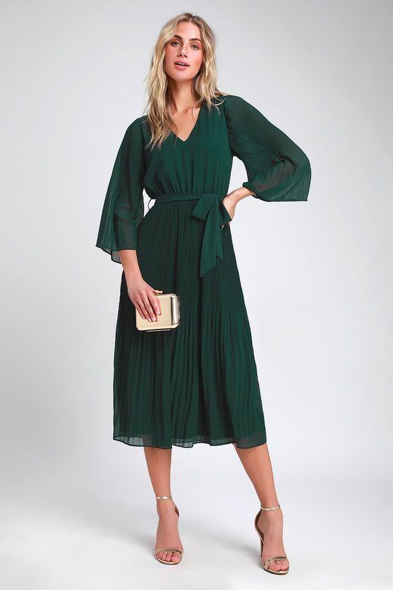 Flirty and Thriving Dark Green Pleated Midi Dress in 2020 | Green .
