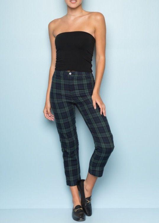 Brandy Melville green plaid Tilden Pants | Green plaid pants .