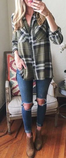 7 Best Green flannel images | Casual outfits, Fall winter outfits .