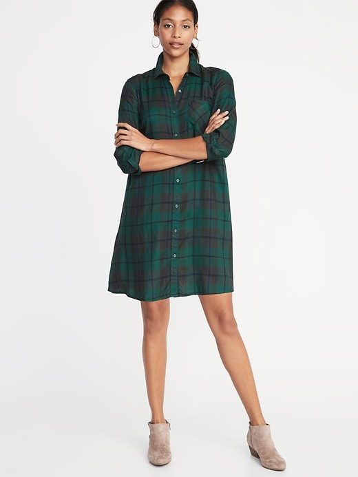 Old Navy Women's Plaid Swing Shirt Dress Blue/Green Plaid Big And .
