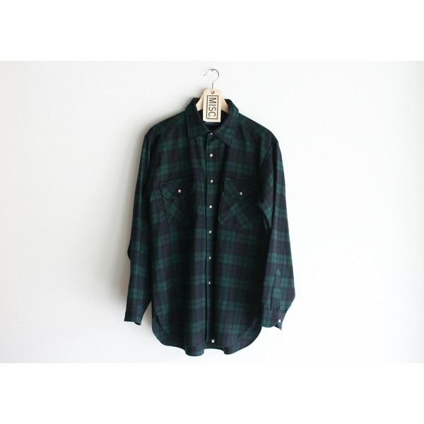 "Vintage Pendleton ""Black Watch Tartan"" Dark Green Flannel Shirt ."
