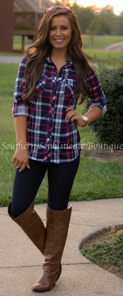 Country In Me Pink Plaid Shirt | Southern Sophisticate Boutique .