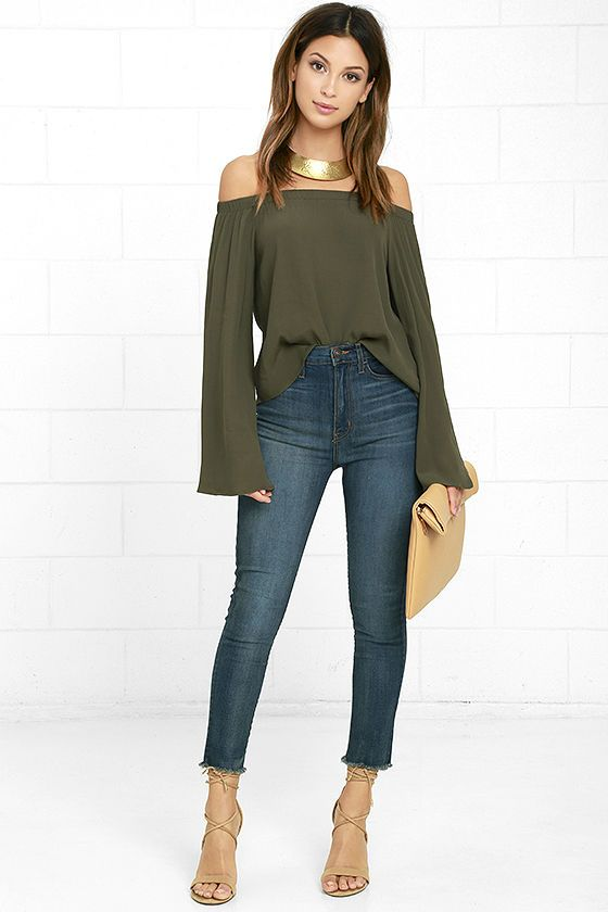 Gentle Stream Olive Green Off-the-Shoulder Topat Lulus.com .