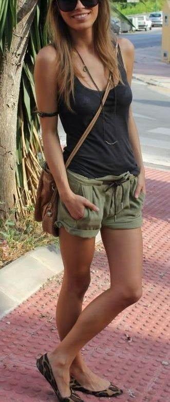 Women's Charcoal Tank, Olive Shorts, Tan Leopard Suede Ballerina .