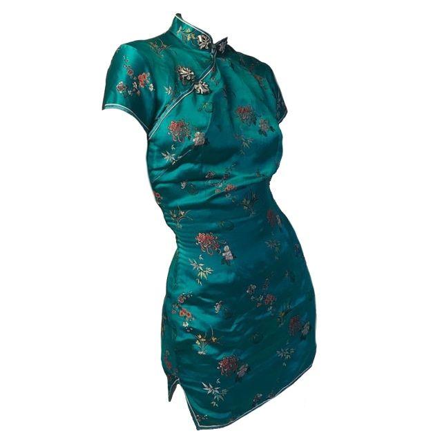 Green silk asian dress polyvore moodboard filler | Aesthetic .