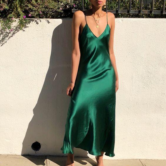 V-neck emerald green silk slip dress midi Green silk dress Slip .