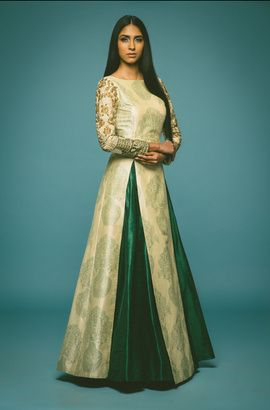 emerald green and white outfit | Sangeet outfit, Indian dresses .