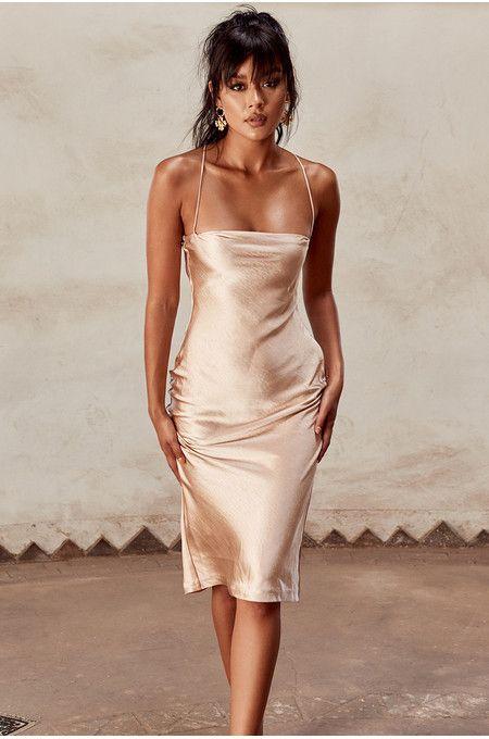 Julieta Champagne Satin Slip Dress | Elegant dresses, Dresses .