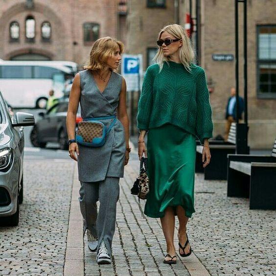 Silk slip dress emerald fall look ideas #silkslip #slipdress .