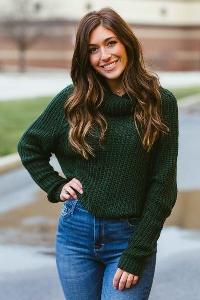 Bundle of Love- Hunter Green Turtleneck Sweater | Green turtleneck .