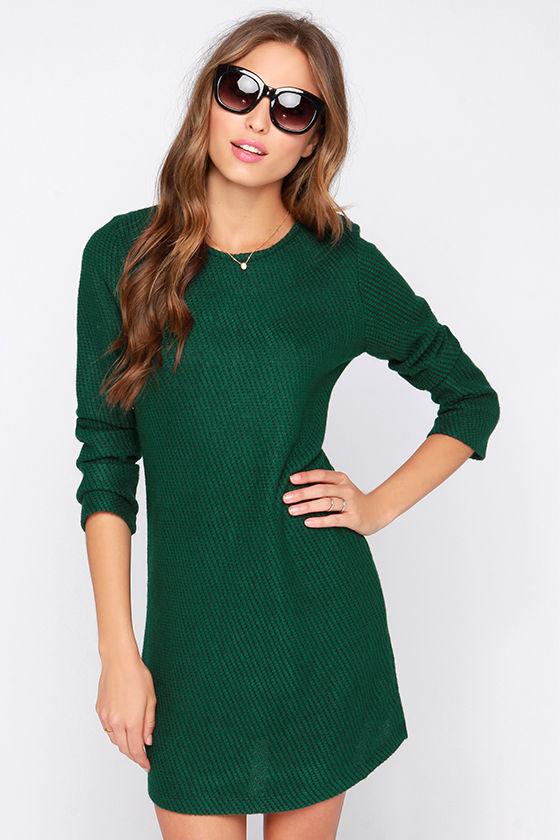 Cute Green Dress - Sweater Dress - Black and Green Dress - $77.