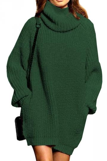 Womens Thicken High Collar Long Sleeve Plain Sweater Dress Dark .