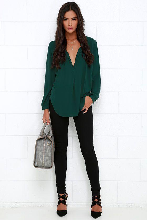 That Certain Something Dark Green Topat Lulus.com! | Green shirt .