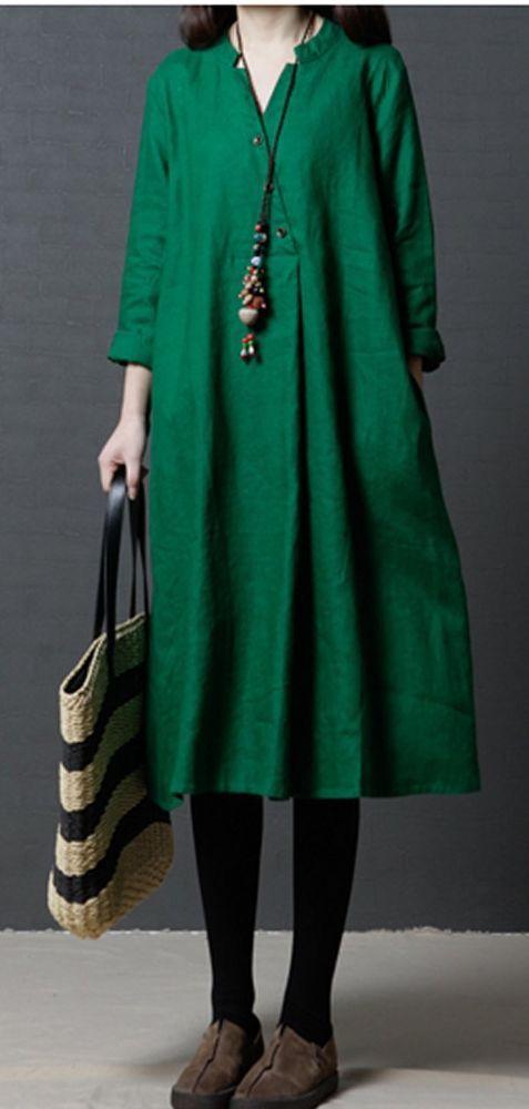 Women loose fit pocket dress maxi green tunic robe large size .