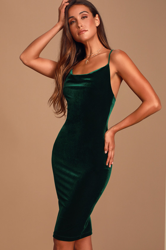 Dark Green Velvet Dress - Velvet Bodycon Dress - Midi Dre