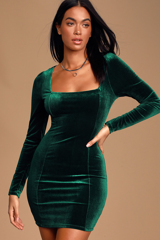 Sexy Green Velvet Dress - Velvet Bodycon - Square Neck Dre