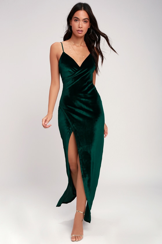 Sexy Forest Green Dress - Maxi Dress - Velvet Dress - Dre