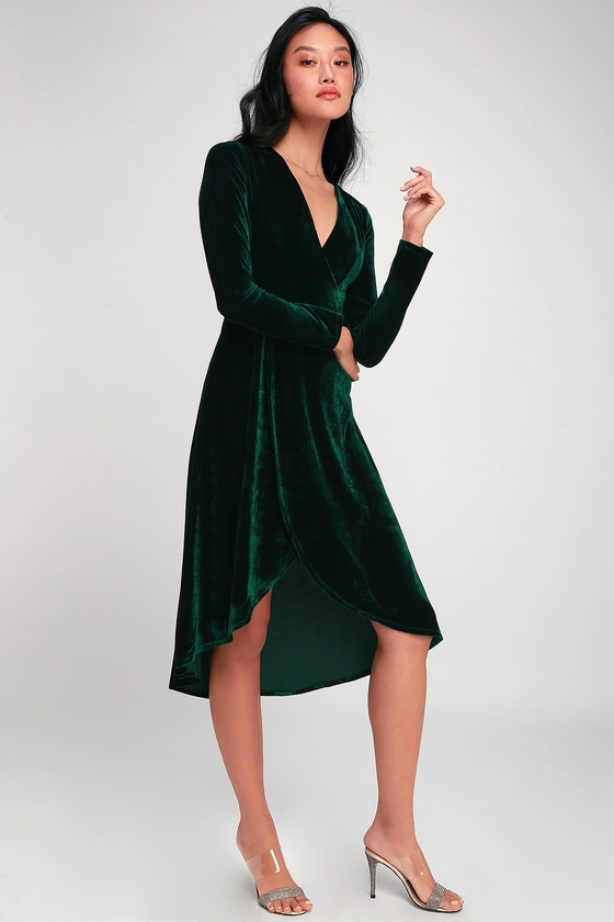 Glam Velvet Dress - Emerald Green Dress - Midi Dre