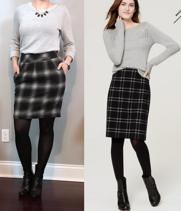 outfit post: grey sweater, plaid skirt, tights, ankle boots .