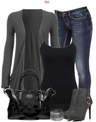 Black-and-Grey-Outfit-look-Grey-Cardigan-Jeans-and-Grey-Ankle .