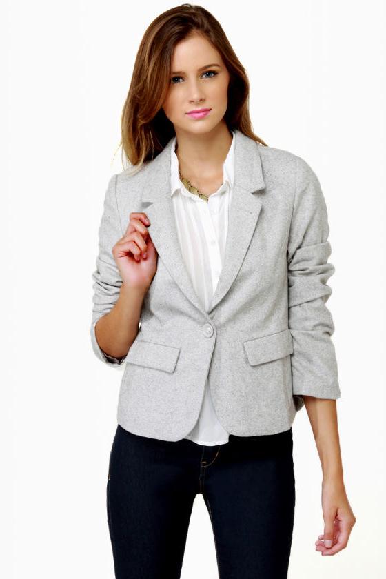 Cute Grey Blazer - Tweed Blazer - Women's Blazer - $56.