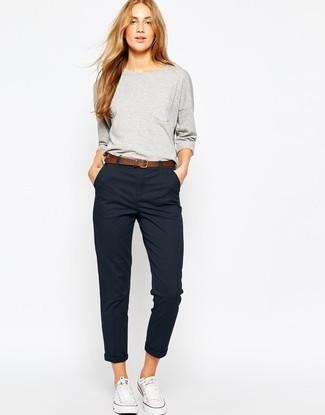 Women's Grey Sweatshirt, Black Chinos, White Canvas Low Top .
