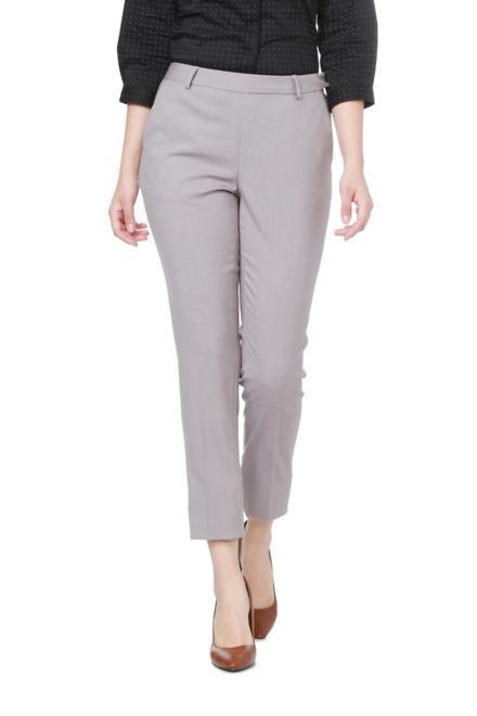 Solly Trousers & Leggings, Allen Solly Grey Trousers for Women at .