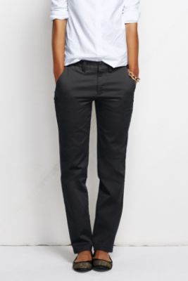 Women's Fit 2 Straight Leg Chino Pants from Lands' End sz 4 black .