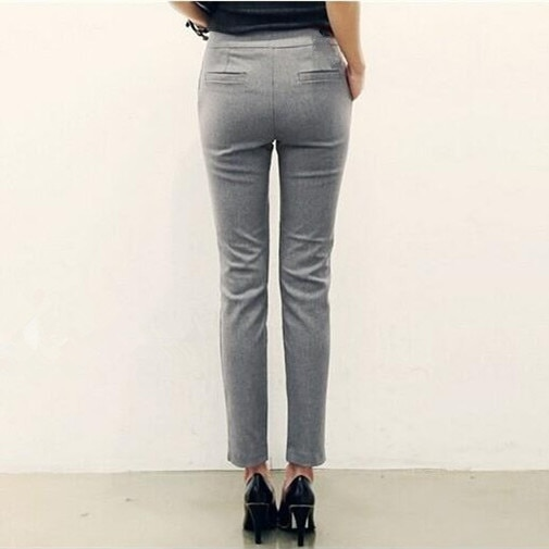 2019 Womens Black Grey Formal Trousers For Women Mid Waist Pants .