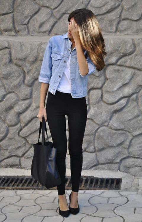 black pants, white shirt, open denim shirt/jacket, black heels .