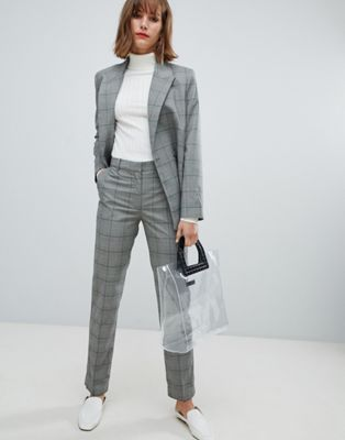 Mango check pants two-piece in gray | Suits for women, Checked .