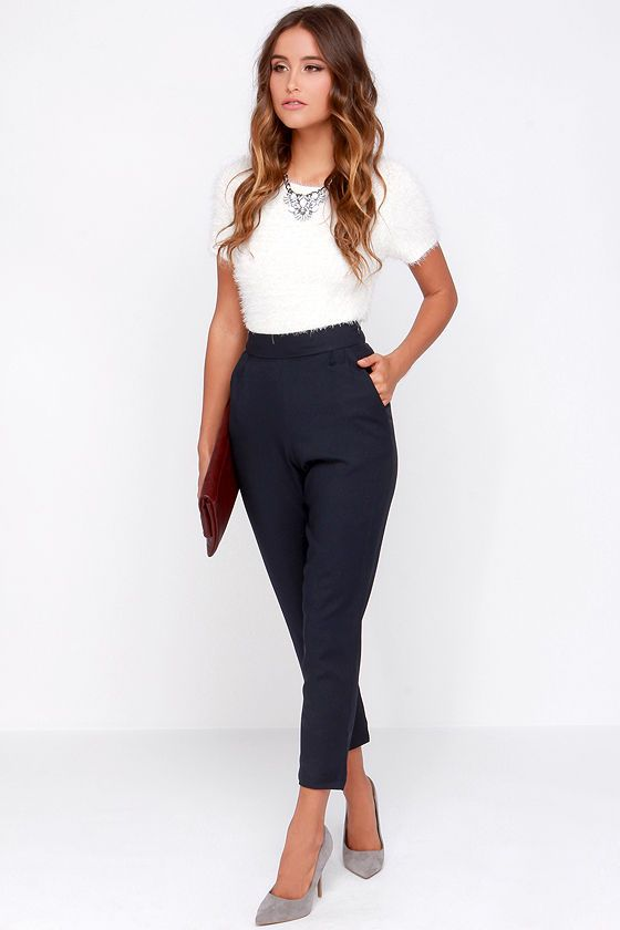 Trouser We Go Navy Blue High-Waisted Pants | Professional outfits .