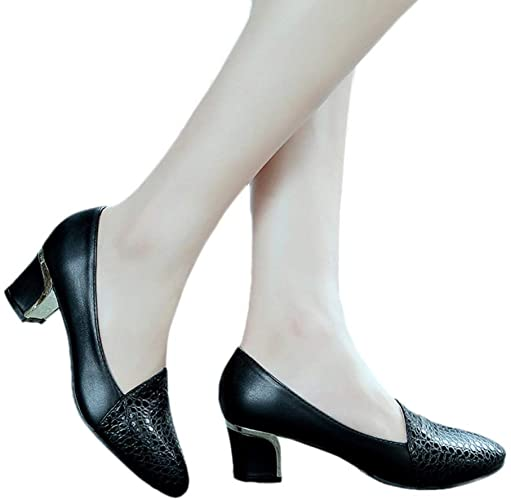 Amazon.com | Women Fashion Leisure Round Toe Pumps Faux Leather .