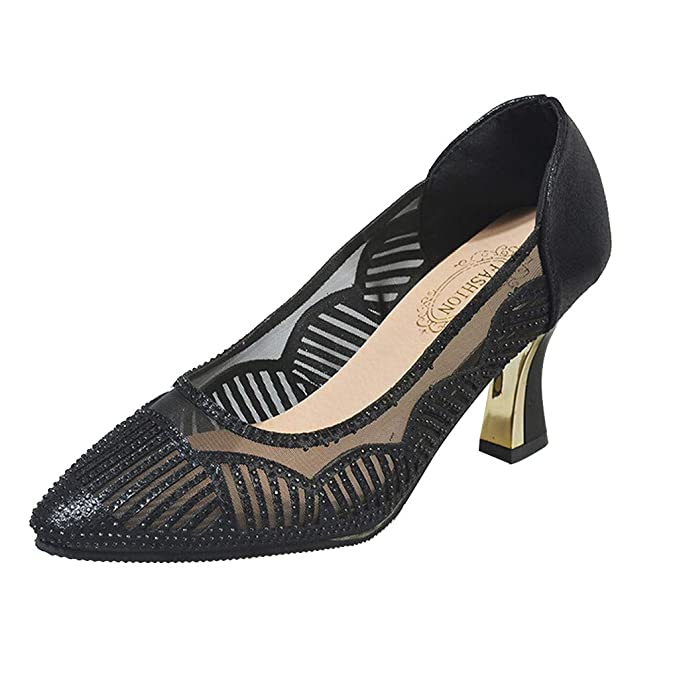 Women Fashion Casual Pointy Toe Shoes Low Heeled Pumps Mesh Slip .