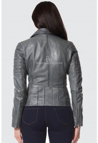 Ladies Grey Napa Stylish Fashion Designer Biker Soft Real Leather .