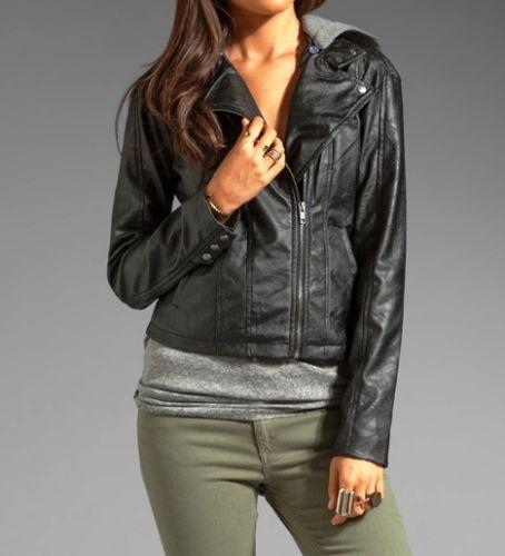 Women's Space Grey leather jacket with Hoodie | Noora Internation