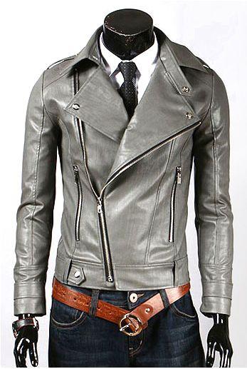 Mens Hand-made Grey Fashion Leather Jack