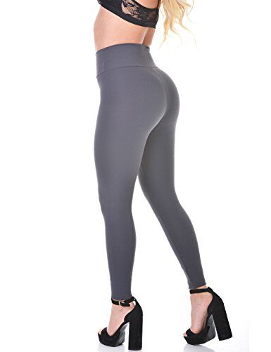 Curvify Elegant High Waisted Womens Grey LeggingsButt Shaping and .