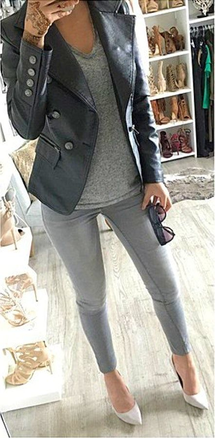 60+ Outfit Ideas To Try This Fall   Grey jeans outfit, Grey pumps .
