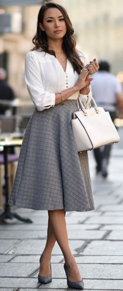 How to Wear Grey Skirt: 15 Low Profile & Beautiful Outfit Ideas .