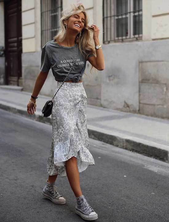 Outfit Ideas: Long Grey Skirt Outfit Ide