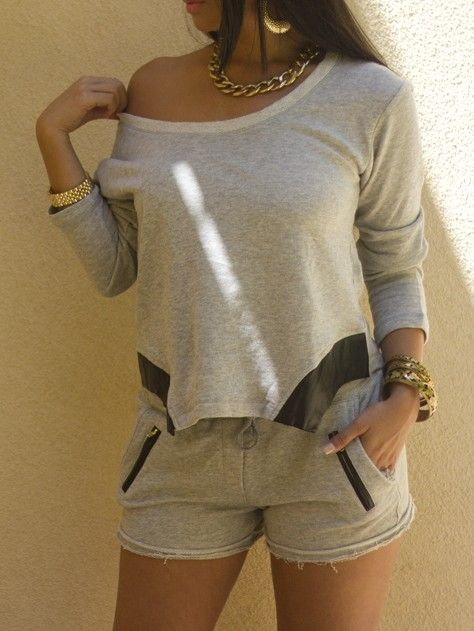 Heather Grey Sweat Shorts Outfit | Women's Spring/Summer Looks .